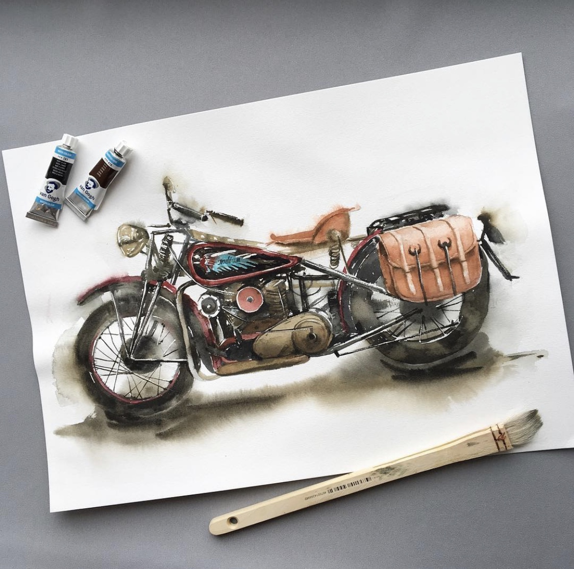 """Мотоцикл Royal Enfield"". Акварель"
